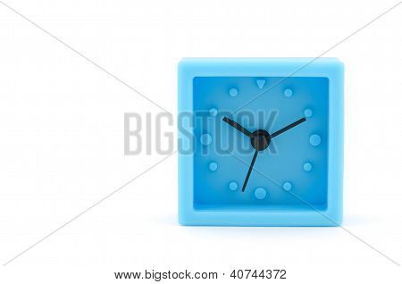 Blue Clock On White Background