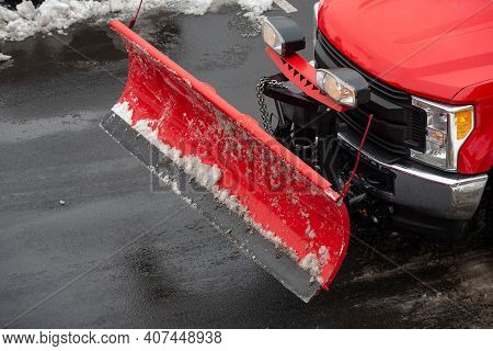 Red Truck For Cleaning Snow Cold Storm Work