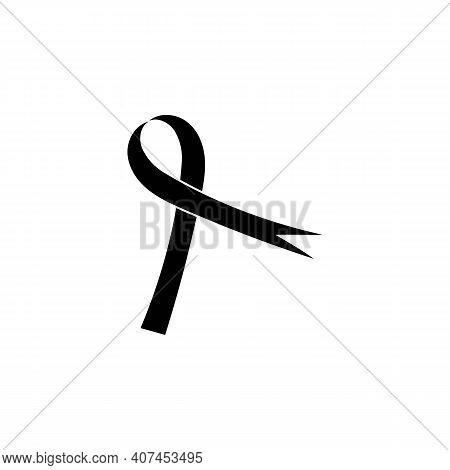 Realistic Black Ribbon, Death Symbol . Vector Illustration