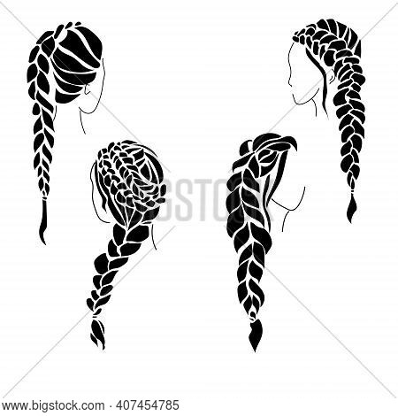 Set Of Silhouettes Of Women's Hairstyles With Braiding, Voluminous Braids On Long Hair Vector Illust