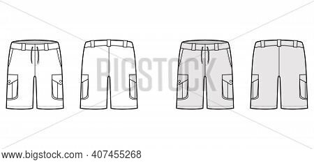 Short Cargo Technical Fashion Illustration With Mid-thigh Length, Low Waist, Rise, Slashed, Bellows