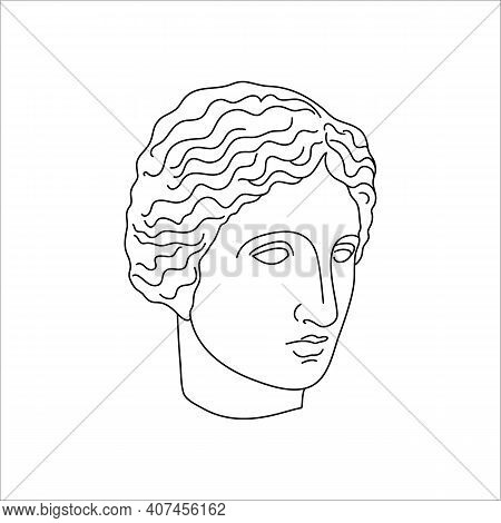 Antique Sculpture Of Muse In A Minimal Liner Trendy Style. Vector Illustration Of The Greek God For