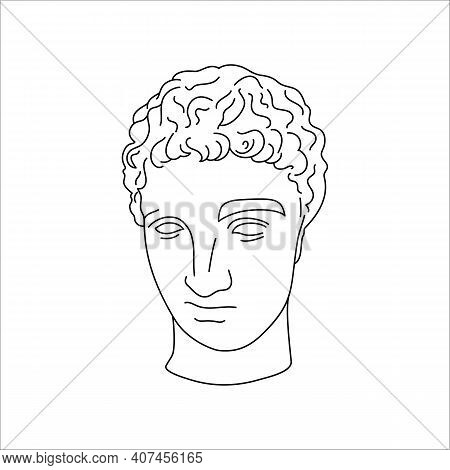 Antique Sculpture Of Hermes In A Minimal Liner Trendy Style. Vector Illustration Of The Greek God Fo