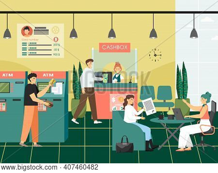 People In A Bank Concept Vector Illustration. Customers Visit Bank To Make Payments, Withdraw Money