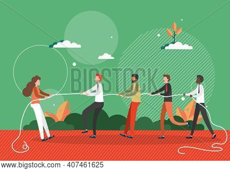 Woman Pulls A Rope Against Team Of Men. Stop Gender Inequality In Business Concept Vector Illustrati