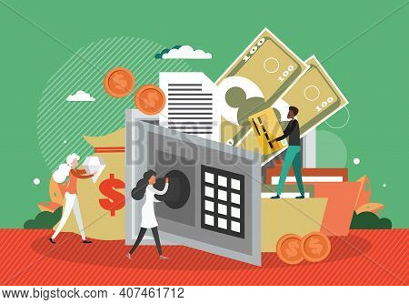 Safe Full Of Money And Documents. Bank Money Safety Concept Vector Illustration. Open Safebox Vault,