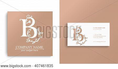 Premium Vector B Logo. Monnogram, Lettering. Delicate Elegant Floral Pattern Of Roses, And Business
