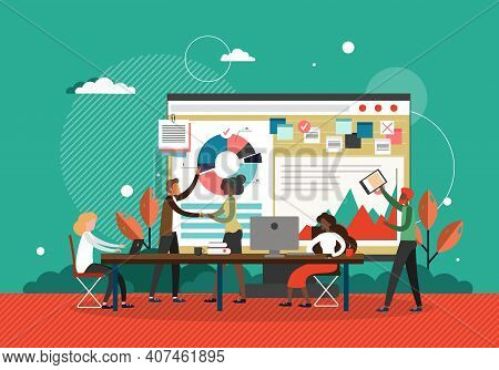 Business Meeting Concept Vector Illustration. Businessman Makes Presentation Of New Business Strateg