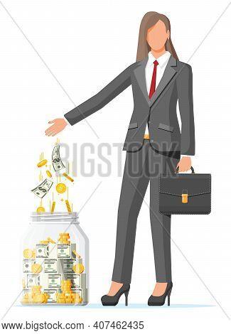 Businesswoman Putting Gold Dollar Banknote In Moneybox. Glass Money Jar Full Of Money. Growth, Incom