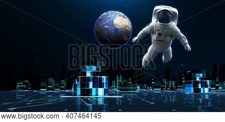 Astronauts Set Out To Exploring The New Future World. 3d Render Futuristic City Neon Light Scene Wit
