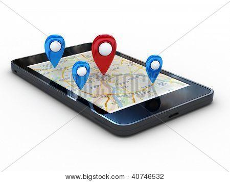 Teléfono inteligente con mapa y geolocalización. 3D renderizado con trazado de recorte