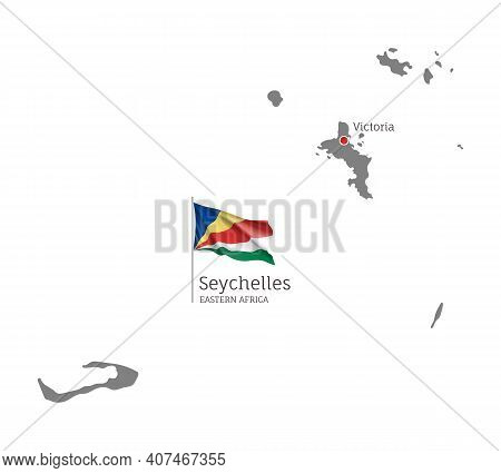 Silhouette Of Seychelles Islands Country Map. Gray Detailed Editable Map With National Flag And Vict