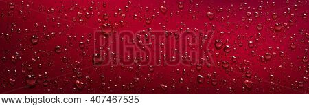 Red Background With Transparent Water Droplets. Vector Realistic Illustration Of Wet Red Surface Wit