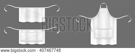 Chef Aprons, White Cook Uniform 3d Vector Mockup. Kitchen Or Bakery Staff Bibs Or Pinafore With Fron