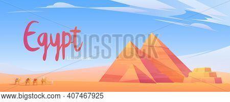 Egypt Poster With Caravan Of Camels In Desert With Pyramids. Vector Cartoon Illustration Of Landscap
