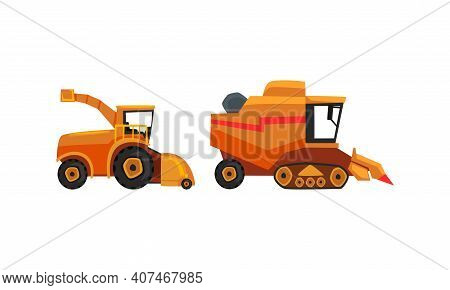 Set Of Heavy Agricultural Machinery, Combine And Harvester For Growing And Harvesting Crops Flat Vec