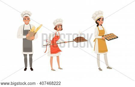 Professional Bread Bakers Set, Bakehouse Workers Holding Freshly Baked Bread And Baguette Cartoon Ve