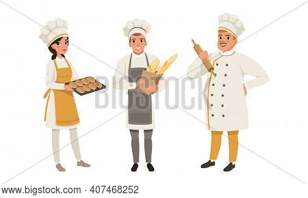 Professional Bread Bakers In Uniform Set, Bakehouse Workers With Freshly Baked Bread And Baguette Ca