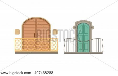 Vintage Balconies Set, Retro House Facade Design Elements, Arched Balcony With Wooden Shutters Vecto