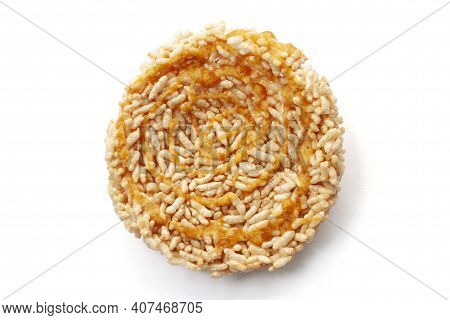 Top View Of Thai Sweet Crispy Rice Cakes With Cane Sugar Drizzle Thai People Call Khaotan Isolated O