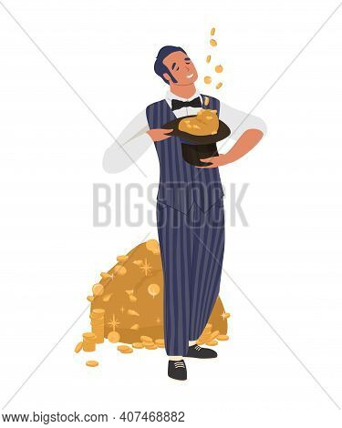 Rich Man Holding Cylinder Hat Full Of Cash Money, Flat Vector Illustration. Wealthy Businessman, Dol