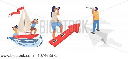 People Looking Through Telescope, Flat Vector Illustration. To Look Forward, View To The Future, Sea
