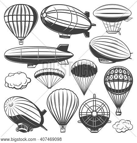 Vintage Airship Collection With Clouds Hot Air Balloons And Blimps Of Different Types Isolated Vecto