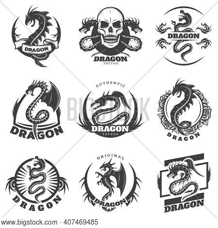 Vintage Monochrome Dragon Tattoo Labels Set With Inscription Mythological Reptiles Skull And Flowers