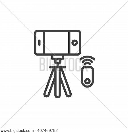 Phone Selfie Tripod Line Icon. Linear Style Sign For Mobile Concept And Web Design. Tripod With Smar