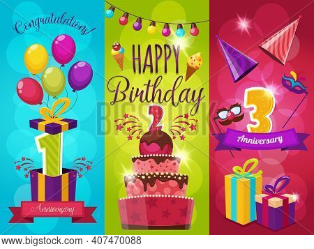 Birthday Party Banners Set With Balloons Fireworks Gift Boxes And Masks Icecream And Ribbons Isolate
