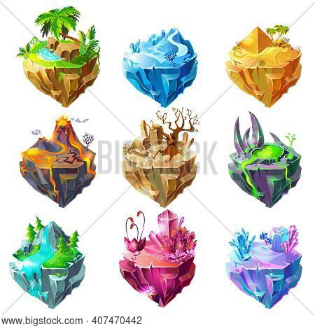 Isometric Game Islands Collection With Tropical Ice Desert Volcano Stone Forest Waterfall Crystal La