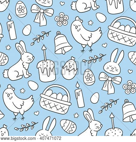 Cute Easter Doodle Seamless Pattern With Bunny, Basket, Easter Eggs, Cakes, Chicken, Willow Twigs An