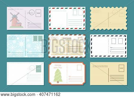 Postcards Retro Banner Set. Celebration Vintage Greeting Letters Traditional Empty Featuring Antique