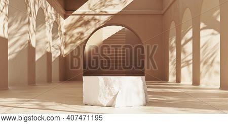Minimal Premium Podium Made Of Natural Stone On Beige Background With Sunshade Shadows. Minimal Mock