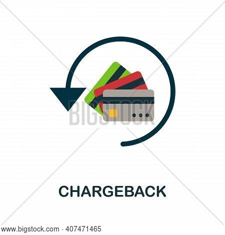 Chargeback Flat Icon. Color Simple Element From Fintech Collection. Creative Chargeback Icon For Web
