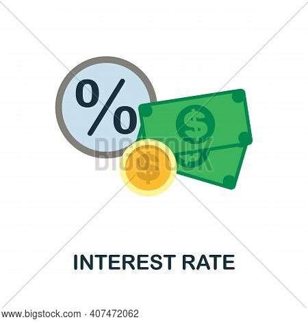 Interest Rate Flat Icon. Color Simple Element From Fintech Collection. Creative Interest Rate Icon F