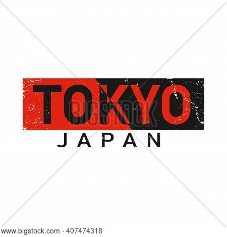 Tokyo, Japan Athletic T-shirt With Slogan. Apparel Design With Inscription In Japanese With The Tran