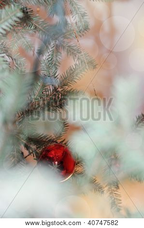 New Year Abstract Blurred Misty Background With Christmas Tree