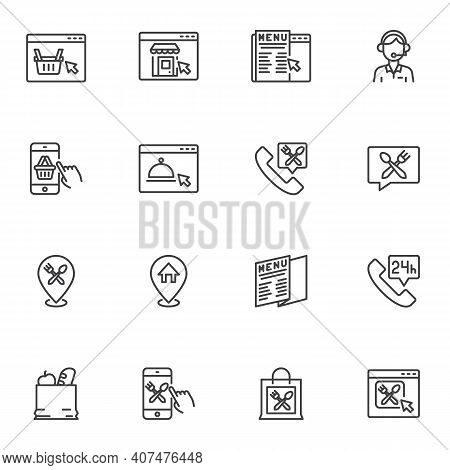 Food Delivery Service Line Icons Set, Outline Vector Symbol Collection, Linear Style Pictogram Pack.