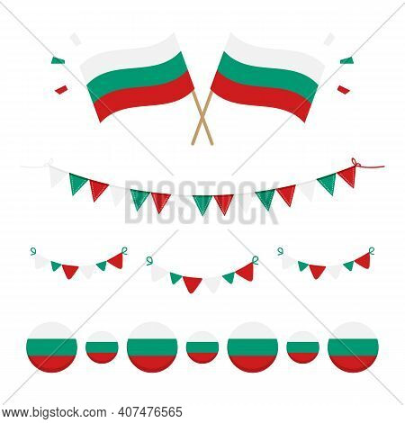 Flags Of Bulgaria Design Elements Set, Collection For Bulgarian National Holidays.