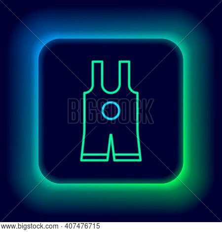 Glowing Neon Line Wrestling Singlet Icon Isolated On Black Background. Wrestling Tricot. Colorful Ou