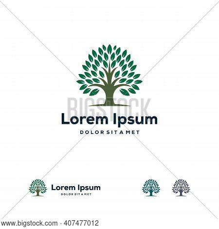 Green Garden Logo Designs Concept, Abstract Tree Logo Template