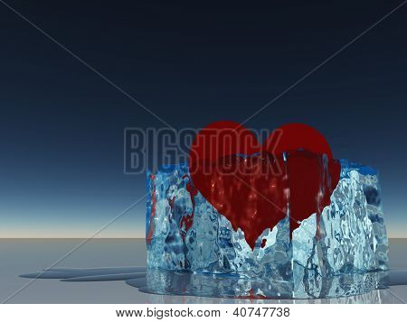 Heart in ice melting