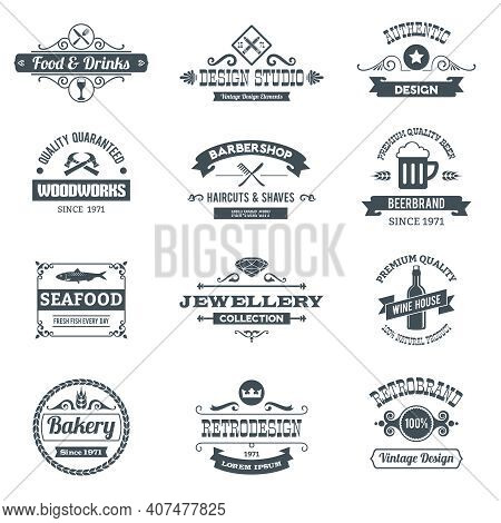 Retro Black Logo Emblems Set With Woodworks Barbershop Restaurant Isolated Vector Illustration