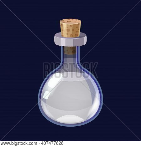 Bottle With Liquid White Potion Magic Elixir Game Icon Gui. Vector Illstration For App Games User In