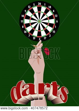 Dart Board With A Hand Holding A Dart And A Volumetric Darts Inscription
