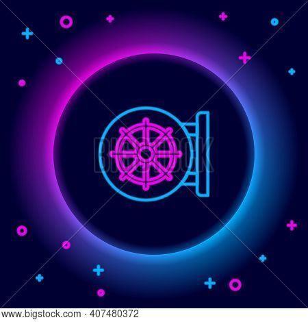 Glowing Neon Line Dharma Wheel Icon Isolated On Black Background. Buddhism Religion Sign. Dharmachak