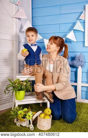 Cute Child Doing Exercises With Speech Therapist. Mommy Practicing Foreign Language Words Pronunciat