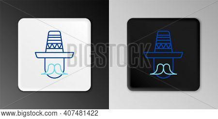 Line Mexican Man Wearing Sombrero Icon Isolated On Grey Background. Hispanic Man With A Mustache. Co
