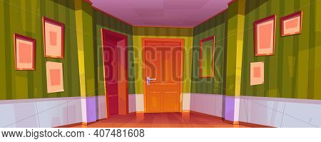 Home Corridor Interior With Closed Doors To Rooms, Green Wallpaper, Picture Frames And Mirror On Wal